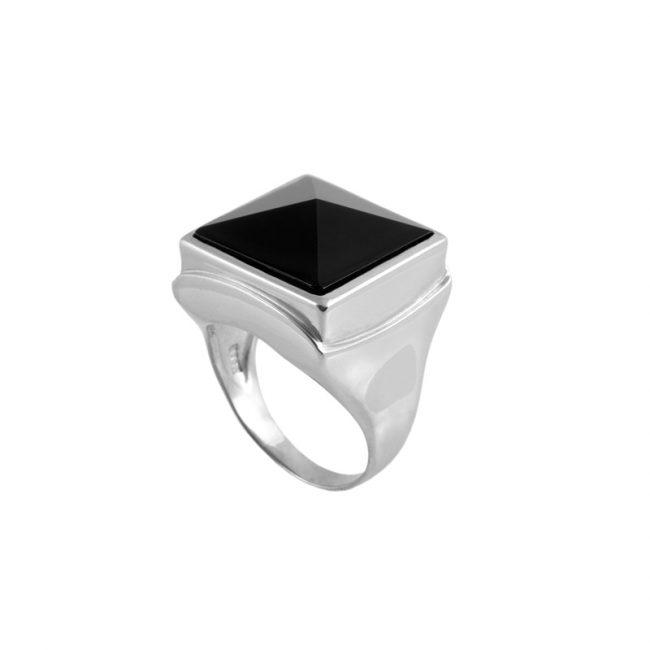 Oniks Taşlı Modern Erkek Gümüş Yüzük DX882