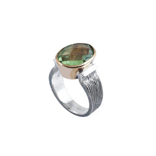 Yeşil Taşlı Modern Bayan Gümüş Yüzük DX900