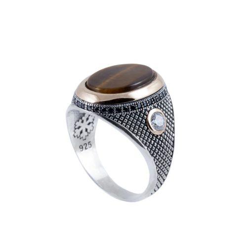Kaplangözü Taşlı Modern Erkek Gümüş Yüzük DX904