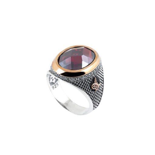 Granat Taşlı Modern Erkek Gümüş Yüzük DX906