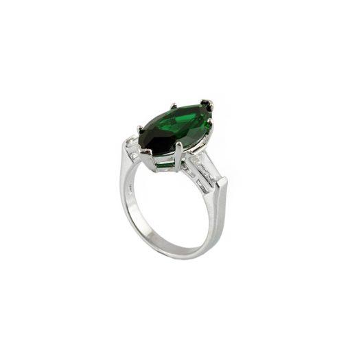 Yeşil Zirkon Taşlı Modern Bayan Gümüş Yüzük DX917