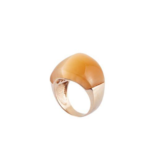 Kedigözü Taşlı Rose Gold Modern Bayan Gümüş Yüzük DX922