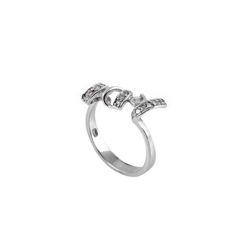 Zirkon Taşlı Love Yazılı Modern Bayan Gümüş Yüzük DX935