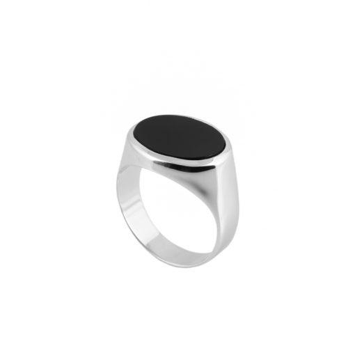 Siyah Mineli Modern Erkek Gümüş Yüzük DX936