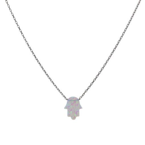 Fatima's Hand Opal Taşlı Modern Bayan Gümüş Kolye EX021