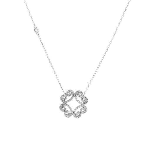 Zirkon Taşlı Modern Bayan Gümüş Kolye EX036