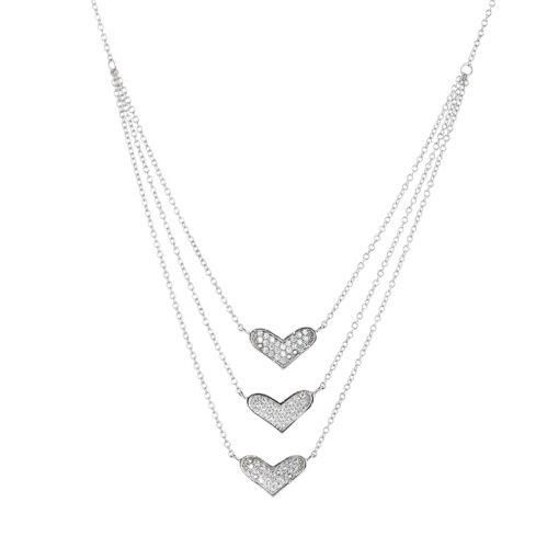 Zirkon Taşlı Üç Kalp Model Modern Bayan Gümüş Kolye EX038