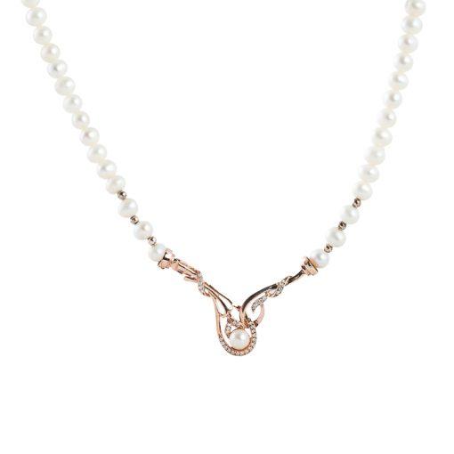 Beyaz İncili Rose Gold Modern Bayan Gümüş Kolye EX061