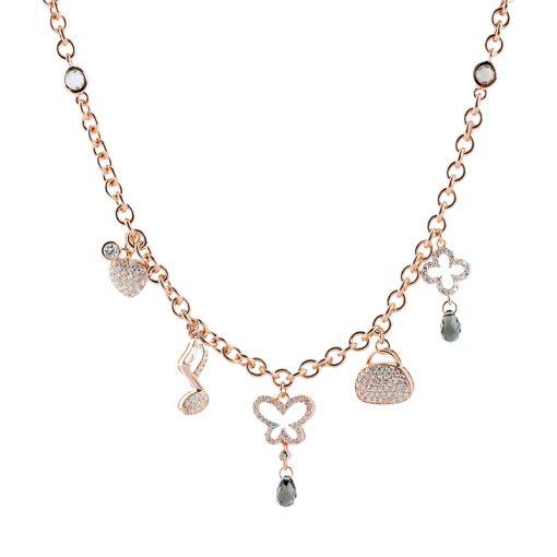 Sitrin Taşlı Rose Gold Modern Bayan Gümüş Kolye EX055