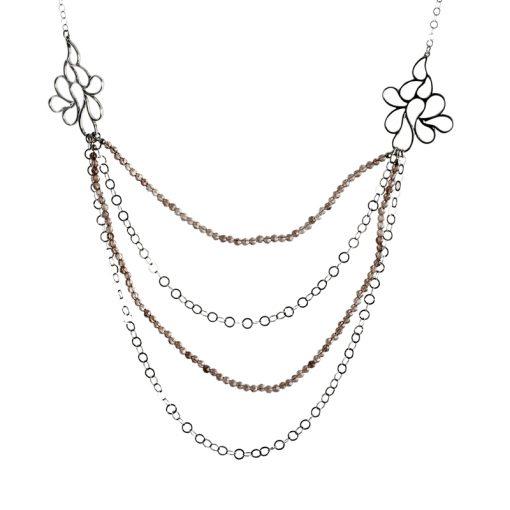 Topaz Taşlı Modern Bayan Gümüş Kolye EX095