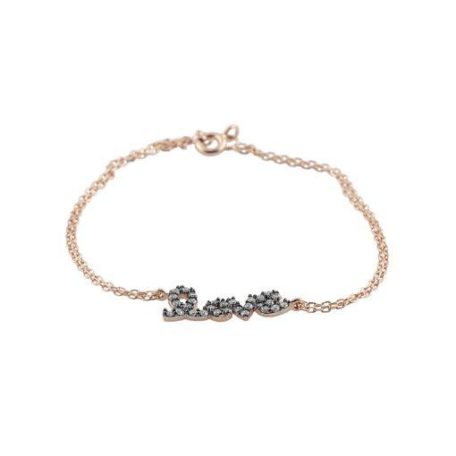 Zirkon Taşlı Love Yazılı Modern Bayan Gümüş Bileklik EX107