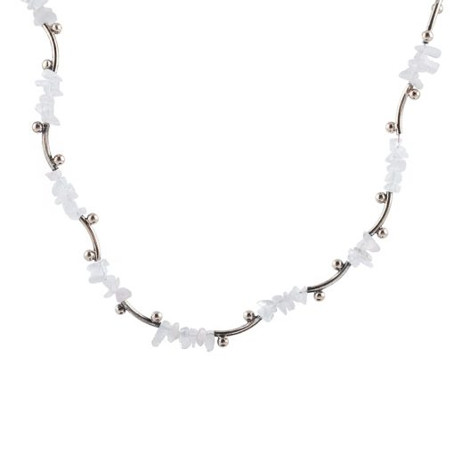 Rose Quartz Taşlı Modern Bayan Gümüş Kolye EX116