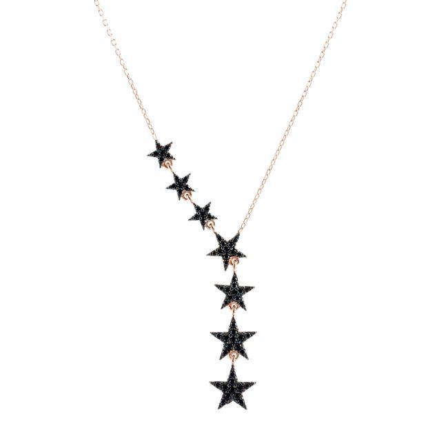 Yıldız Model Rose Gold Modern Bayan Gümüş Kolye EX189