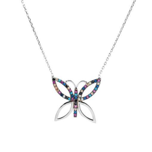 Renkli Taşlı Kelebek Model Modern Bayan Gümüş Kolye EX208