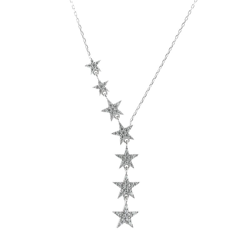 Zirkon Taşlı Yıldız Model Modern Bayan Gümüş Kolye EX211