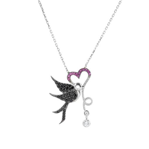 Kalpli Kuş Model Modern Bayan Gümüş Kolye EX216