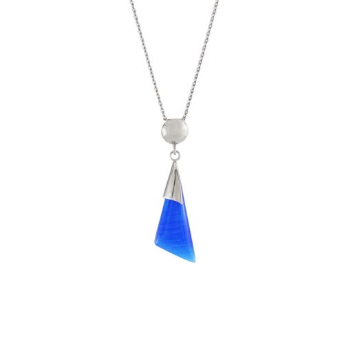 Mavi Kedigözü Taşlı Modern Bayan Kolye EX244