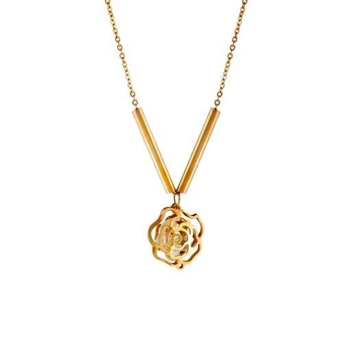 Gül Model Rose Gold Modern Bayan Kolye EX269