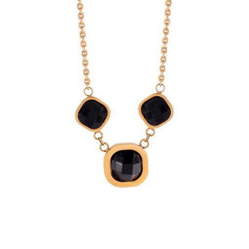 Siyah Taşlı Rose Gold Modern Bayan Kolye EX316