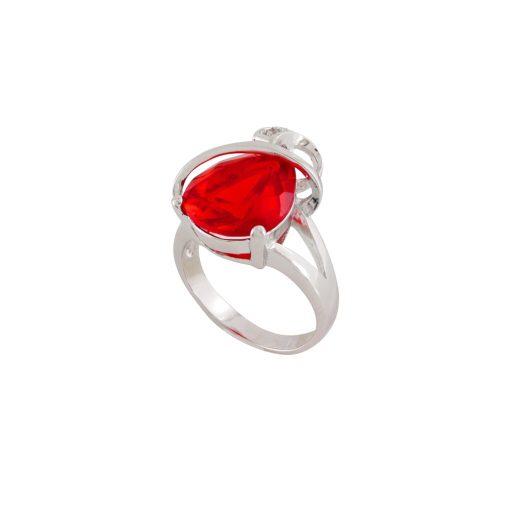 Kırmızı Taşlı Modern Bayan Yüzük EX361