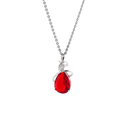 Kırmızı Taşlı Modern Bayan Kolye EX362