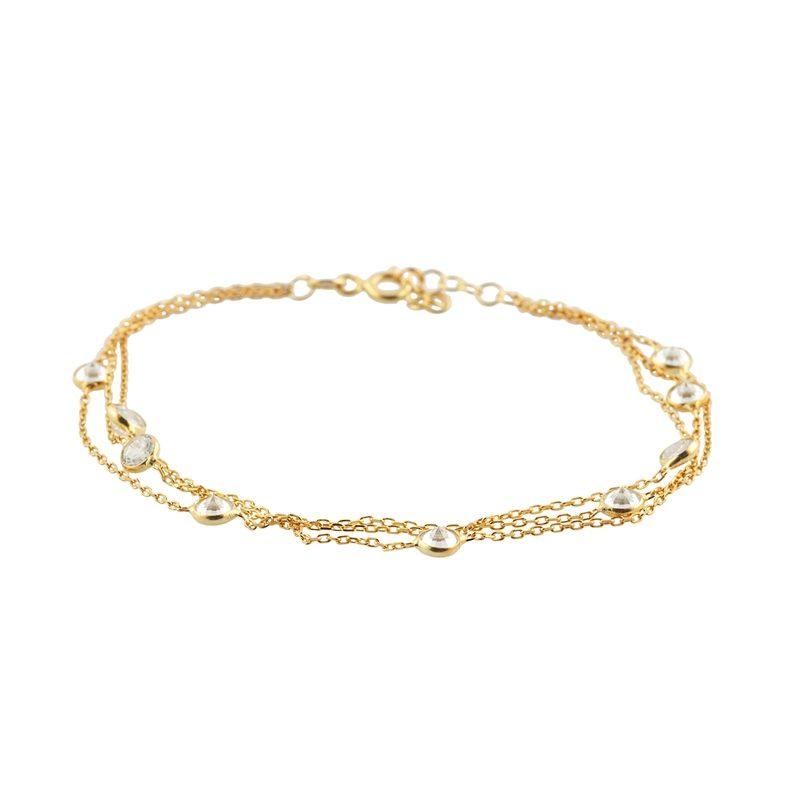 Altın Kaplamalı Zirkon Taşlı Modern Bayan Gümüş Bileklik EX090