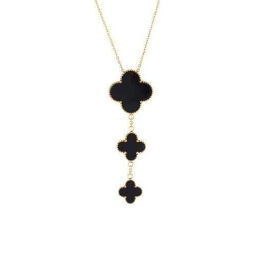 Siyah Taşlı Rose Gold Modern Bayan Kolye EX393
