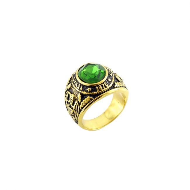 Yeşil Zirkon Taşlı Modern Erkek Yüzük EX403