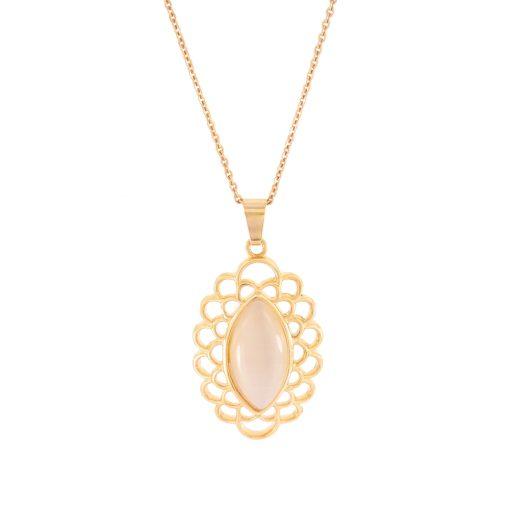 Sedefli Rose Gold Modern Bayan Kolye EX433