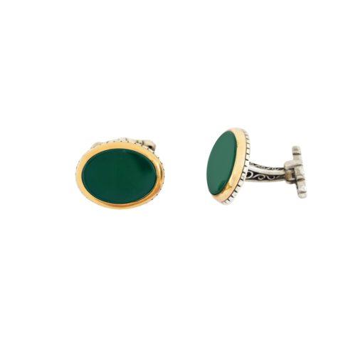 Yeşil Akik Taşlı Modern Gümüş Kol Düğmesi EX444