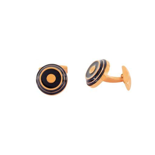 Siyah Mineli Rose Gold Modern Çelik Kol Düğmesi EX445