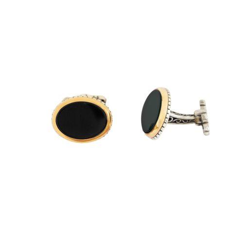 Oniks Taşlı Modern Gümüş Kol Düğmesi EX448