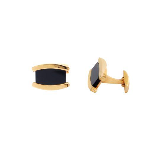 Oniks Taşlı Rose Gold Modern Çelik Kol Düğmesi EX454