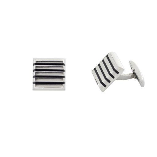 Siyah Mineli Modern Çelik Kol Düğmesi EX457