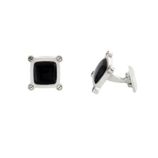 Oniks Taşlı Modern Çelik Kol Düğmesi EX461