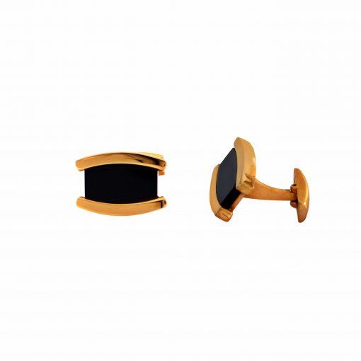 Oniks Taşlı Rose Gold Modern Çelik Kol Düğmesi EX463