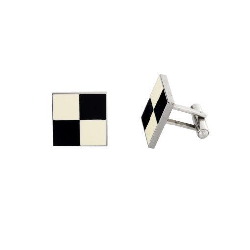 Siyah Beyaz Mineli Modern Çelik Kol Düğmesi EX465
