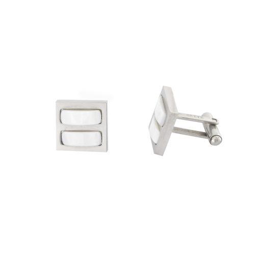 Sedef Taşlı Modern Çelik Kol Düğmesi EX466