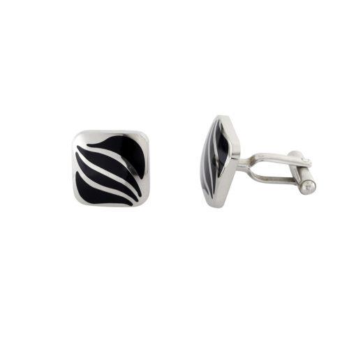 Siyah Mineli Modern Çelik Kol Düğmesi EX467