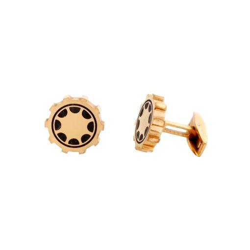 Siyah Mineli Rose Gold Modern Çelik Kol Düğmesi EX468
