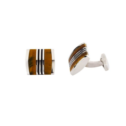 Kahverengi Siyah Mineli Modern Çelik Kol Düğmesi EX469