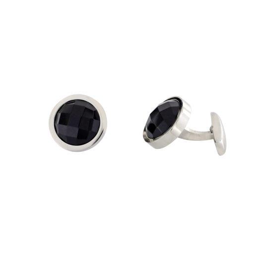 Siyah Zirkon Taşlı Modern Çelik Kol Düğmesi EX470