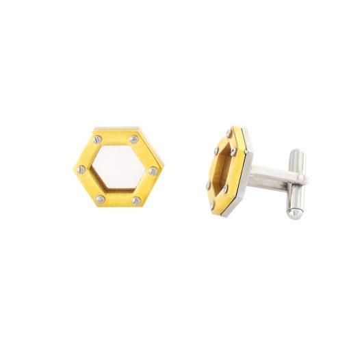 İki Renkli Modern Çelik Kol Düğmesi EX471