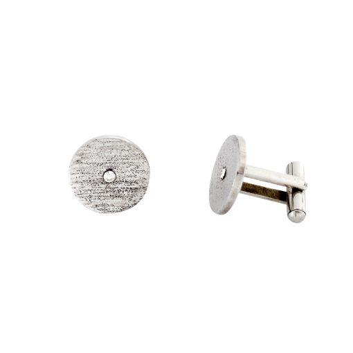 Zirkon Taşlı Modern Çelik Kol Düğmesi EX473