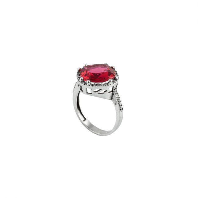 Kırmızı Zirkon Taşlı Modern Bayan Gümüş Yüzük EX581