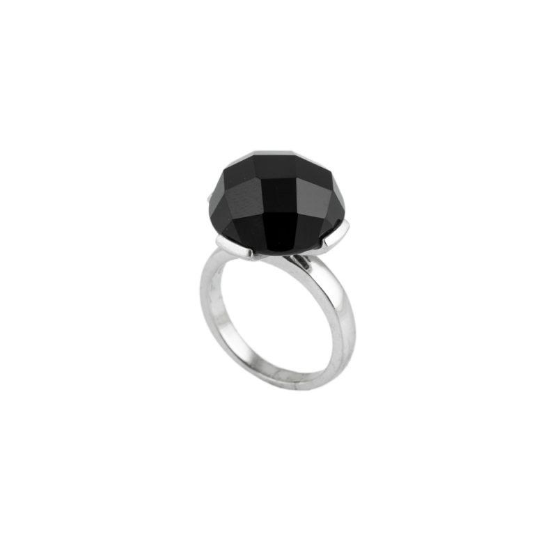 Siyah Zirkon Taşlı Modern Bayan Gümüş Yüzük EX583