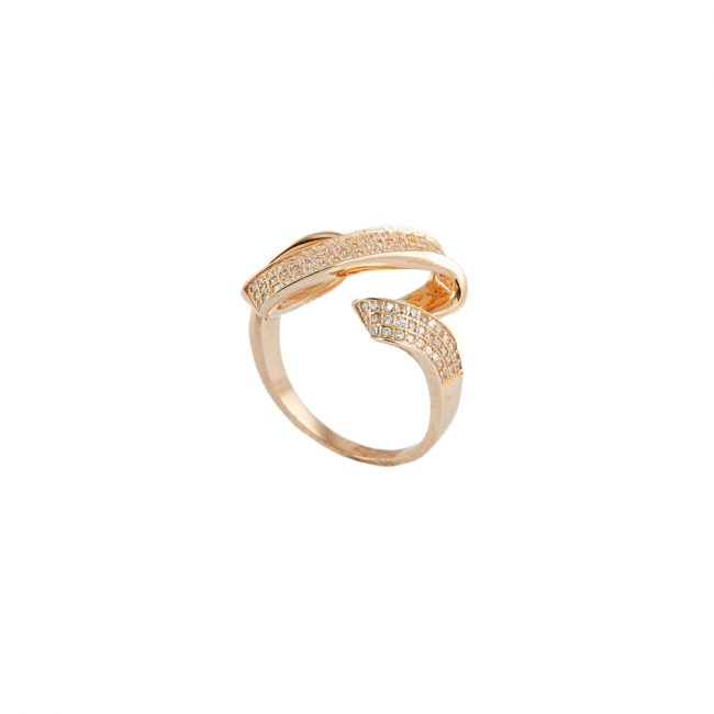 Zirkon Taşlı Rose Gold Modern Bayan Gümüş Yüzük EX584