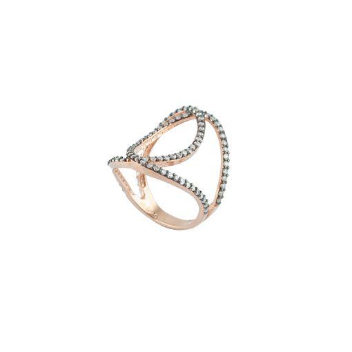 Zirkon Taşlı Rose Gold Modern Bayan Gümüş Yüzük EX585
