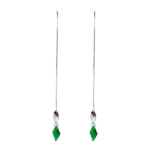 Yeşil Taşlı Zincirli Sallantılı Model Modern Bayan Gümüş Küpe EX602