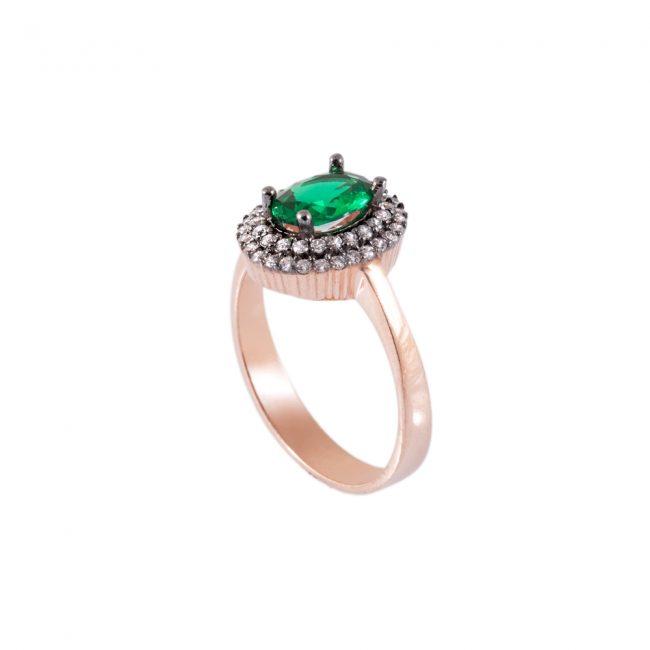 Yeşil Taşlı Kadın Gümüş Yüzük G018